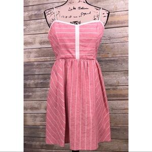 Red striped linen high low Urban Outfitters Dress